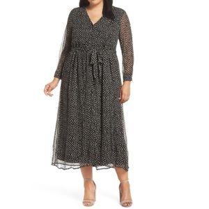 Lucky Brand Black Polka Dot Maxi Dress XL